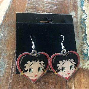 Betty Boop heart earrings